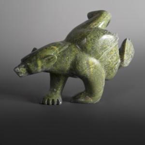 "Dancing Bear (2 way/2 foot) Ottokie Samayualie Inuit Serpentine #54 11"" x 7 ½"" x 4"" $1400"