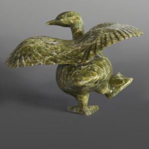 "Goose Stepping Pudlalik Shaa Inuit Serpentine #63 8"" x 5 ½"" x 5"" $1000"