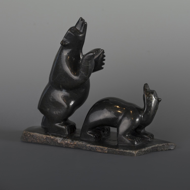 """Bears Playing (2 bears) Mosesee Pootoogook Inuit Serpentine #52 7"""" x 5 ½"""" x 2"""" $550"""
