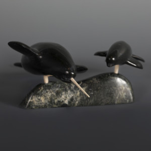 "Narwhal with Young Pudlalik Shaa Inuit Serpentine #68 7"" x 6"" x 3"" $620"