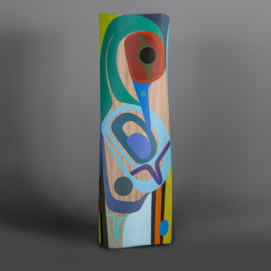 "Happiness Steve Smith – Dla'kwagila Oweekeno Turned maple, paint 19 ½"" x 6"" x 6"" $5000"