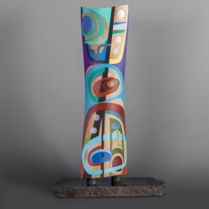 "Free to Be Steve Smith – Dla'kwagila Oweekeno Turned maple, paint, granite 22"" x 6"" x 3"" base 13"" x 6"" $5200"