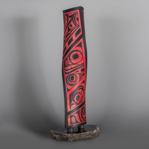 "A Tribute Steve Smith – Dla'kwagila Oweekeno Turned maple, paint, granite 22 ½ x 6"" x 6"" base 7"" x 10"" $4800"