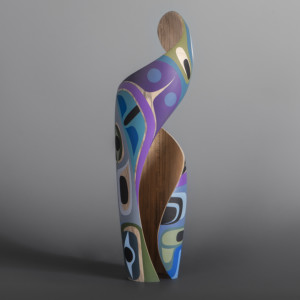 "Elegance Steve Smith – Dla'kwagila Oweekeno Turned maple, paint 16 ½ x 4 ½"" x 4 ½"" $3600"
