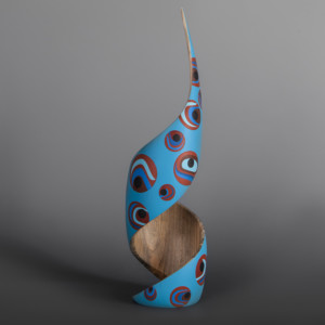 "Abundance (Blue) Steve Smith – Dla'kwagila Oweekeno Turned maple, paint 17 ½"" x 4 ½"" x 4 ½"" $3400"