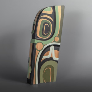 "Prosperity Steve Smith – Dla'kwagila Oweekeno Red cedar, paint 17"" x 7"" x 2 ½"" $3200"