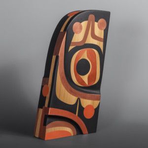 "Made to Be Steve Smith – Dla'kwagila Oweekeno Red cedar, paint 13"" x 7"" x 2.5"" $2800"