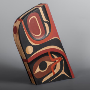 "Healer Steve Smith – Dla'kwagila Oweekeno Red cedar, paint 14 1/2"" x 12"" x 2 ½"" $2800"