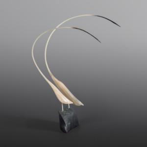 """Cranes Intertwined Stanley Ruben Inuit Muskox horn, serpentine 13"""" x 5"""" x 4½"""" $950"""