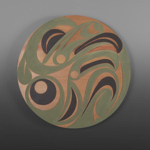 "Tree Frog Panel Andy Peterson Skokomish Red cedar, paint 24"" dia. $1200"