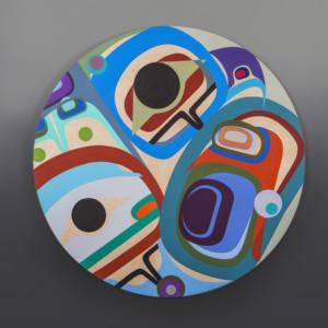 """Kindness Steve Smith – Dla'Kwagila Oweekeno Birch panel, paint 36"""" dia. $4400"""