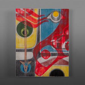 "Curiosity Clinton Work Kwakwaka'wakw Birch panel, paint 14"" x 11"" $650"