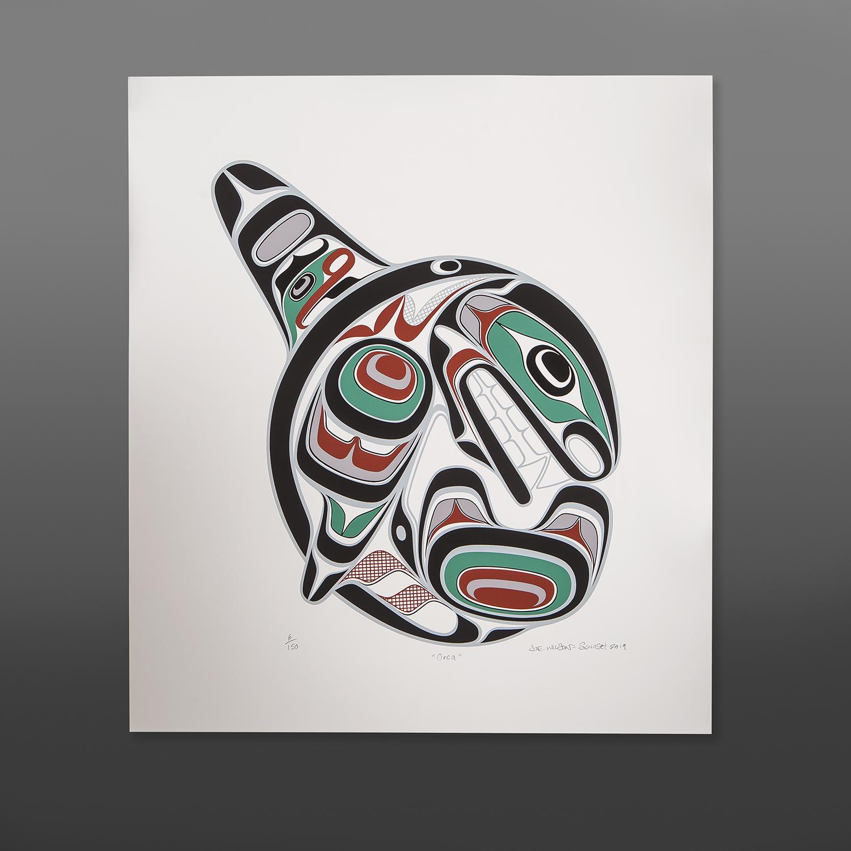 "Orca Joe Wilson Coast Salish Serigraph 23"" x 20"" $125"