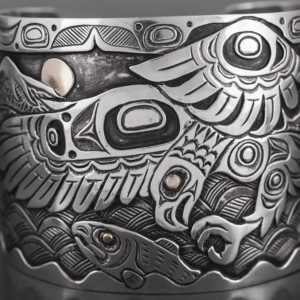 "Give Chase Kelvin Thompson Haisla Silver, 14k gold, 2"" $3000"