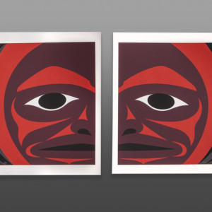 "Blood Red Moon Maynard Johnny Coast Salish Serigraph (diptych) 14"" x 19"" each $500"