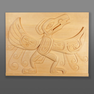 "Raven the Transformer Dean Hunt Heiltsuk Yellow cedar 30½"" x 40"" x 1¾"" $6000"