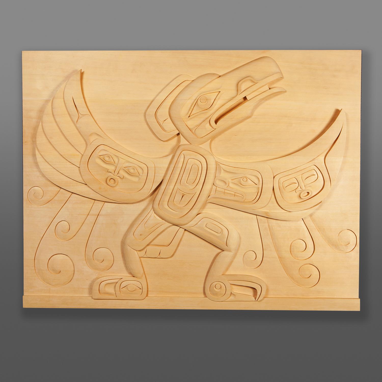 """Raven the Transformer Dean Hunt Heiltsuk Yellow cedar 30½"""" x 40"""" x 1¾"""" $6000"""