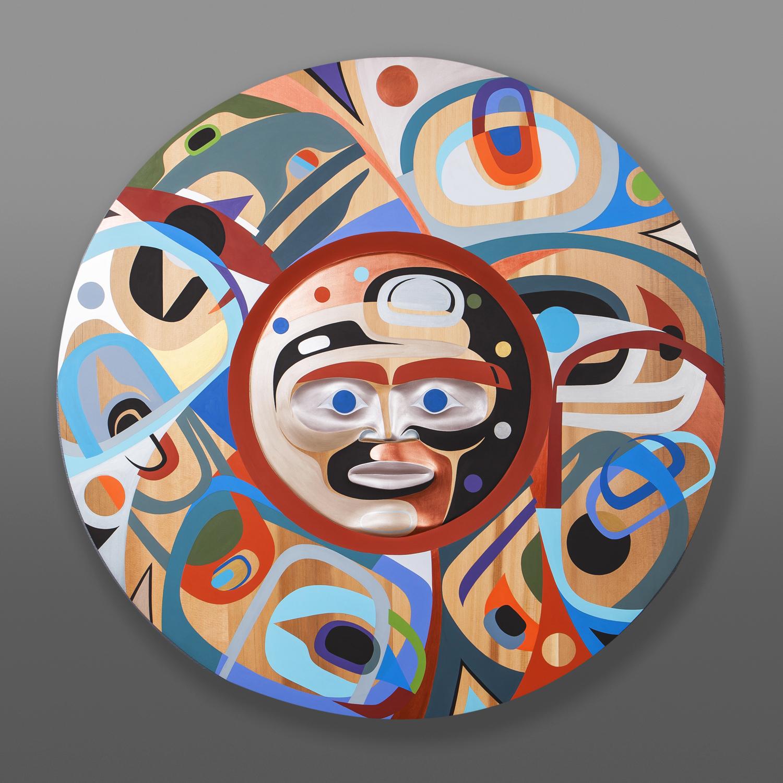 """Awakening From the Dream Steve Smith - Dla'kwagila Oweekeno Red cedar, paint 36"""" x dia. 1½"""" $11500"""
