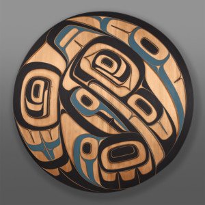"Gaax Phil Gray Tsimshian Red cedar, paint 38"" dia. x 2"""