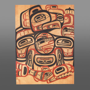"""Eagle and the Young Chief David A Boxley Tsimshian Red cedar, paint 47"""" x 35"""" x 1¼"""" $9800"""