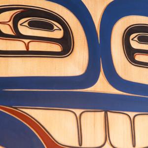 "Gwisgwaasgm Gyemgm Aatk - Blue Moon Clifton Guthrie Tsimshian Red cedar, paint 32½"" dia. x 1"" Sold"