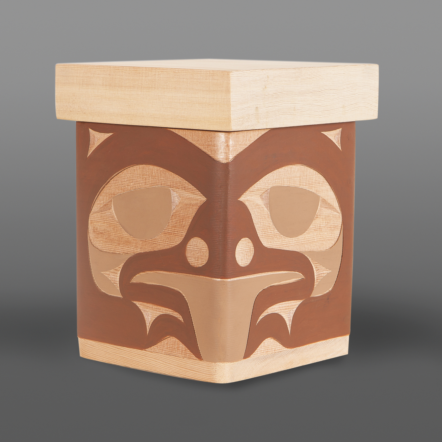 "Brown Bear Box Andy Peterson Coast Salish Red cedar, paint 7½"" x 6"" x 6"" $450"
