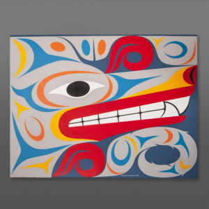 "Timber Wolf Maynard Johnny Jr Coast Salish Acrylic on paper, conservation framing 40½"" x 33"" $3600"