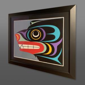 "Black Bear Maynard Johnny Jr Coast Salish Acrylic on paper, conservation framing 40½"" x 33"" $3600"