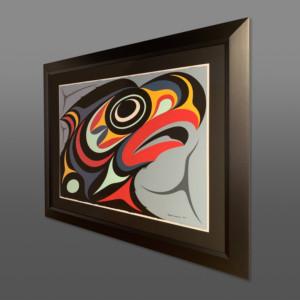 """SalishEagle Maynard Johnny Jr Coast Salish/Kwakwaka'wakw Acrylic on paper, conservation frame 40½"""" x 33"""" $3600"""