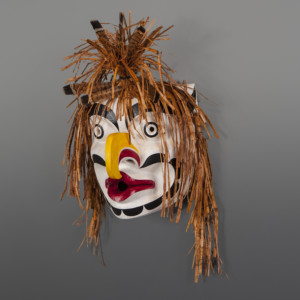 "Grouse Mask Raymond Shaw Kwakwaka'wakw Red cedar, cedar, bark, feathers, paint 17½"" x 9½"" x 7"" $3800"