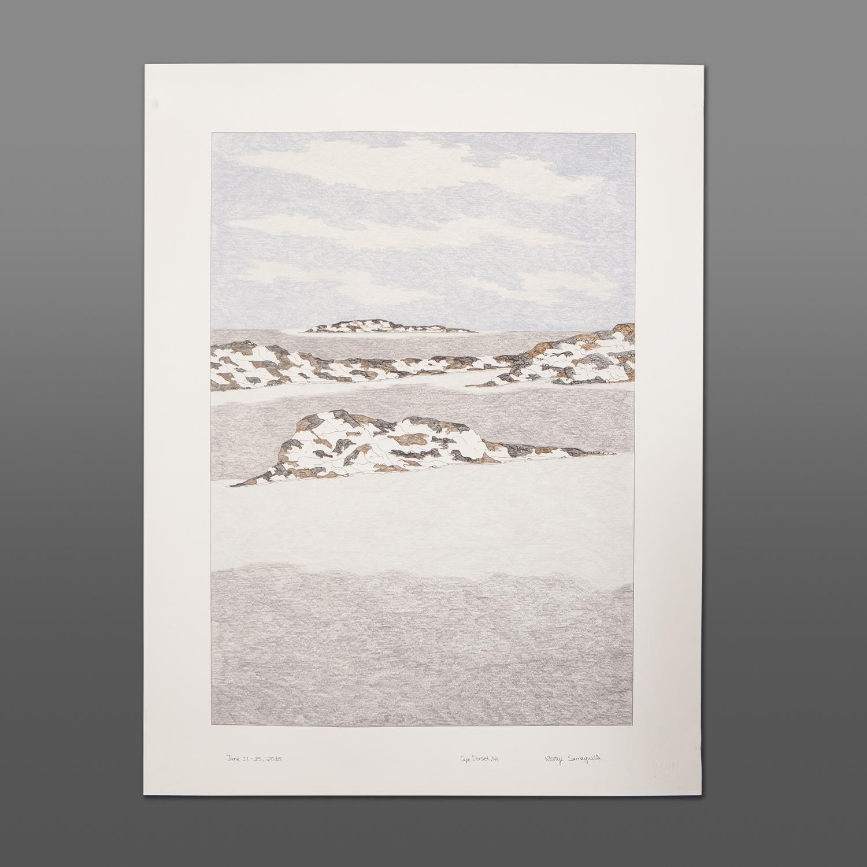 "Tundra Vista Nicotye Samayualie Inuit Color pencil, ink on paper 23"" x 30"" 900CAD"