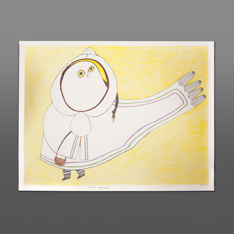 "Arndapik Tingmiaruqtuq Ningiuklu Teevee Colored pencil, ink on paper 30"" x 23"" 1500CAD"