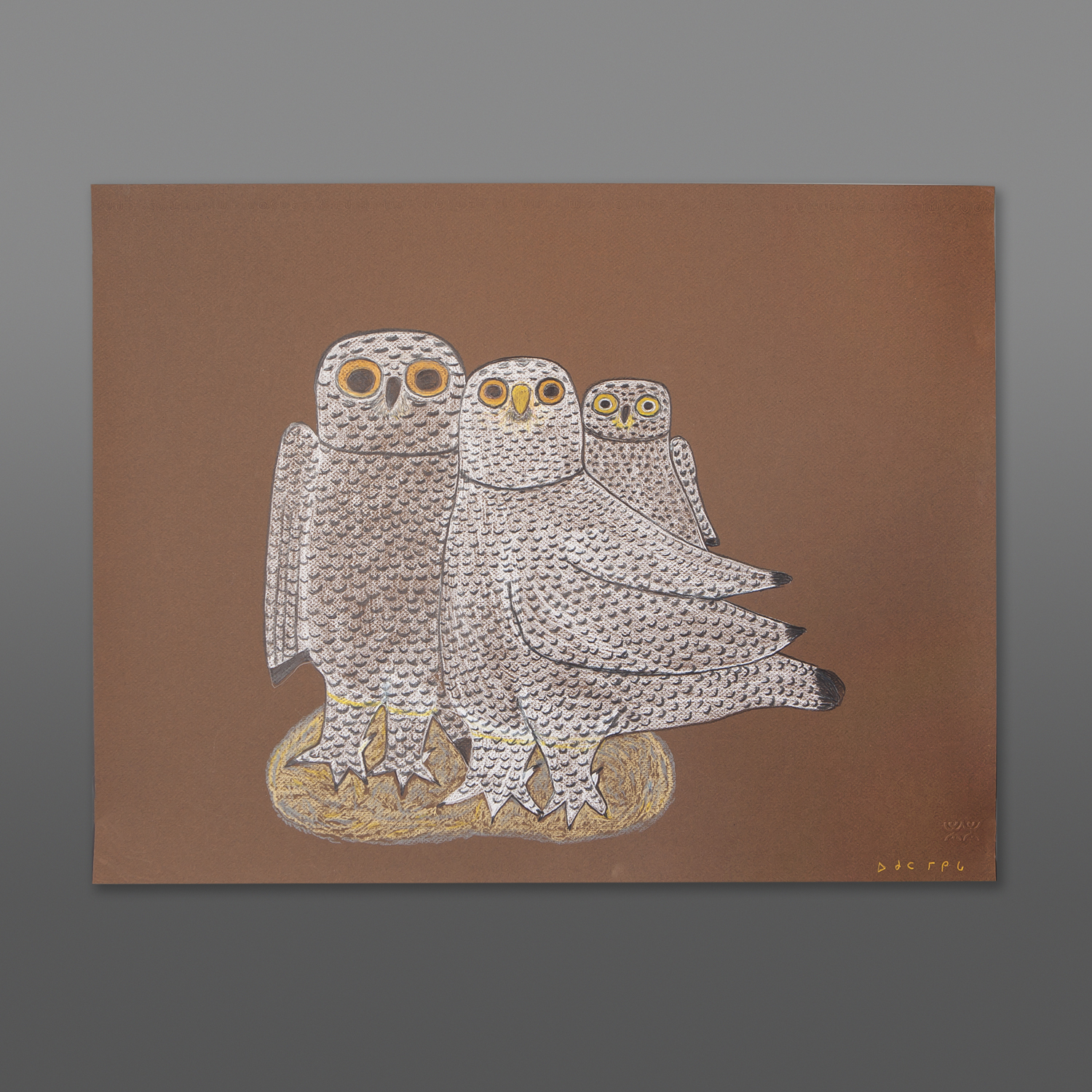 "Arctic Owl Family Ohotaq Mikkigak  Inuit Colored pencil on paper 19½"" x 25½"" 700CAD"