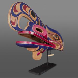 "Crooked Beak Raymond Shaw Kwakkwaka'wakw Red cedar, paint, custom stand 39"" x 14"" x 20"" $12,000"