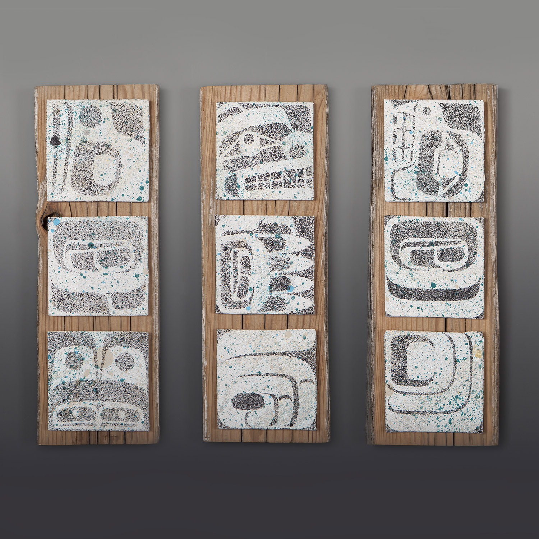 "Sustenance Trio  Clinton Work Kwakwaka'wakw  Canvas panels on cedar 15"" x 5"" x 1"" each  $1200 /set"