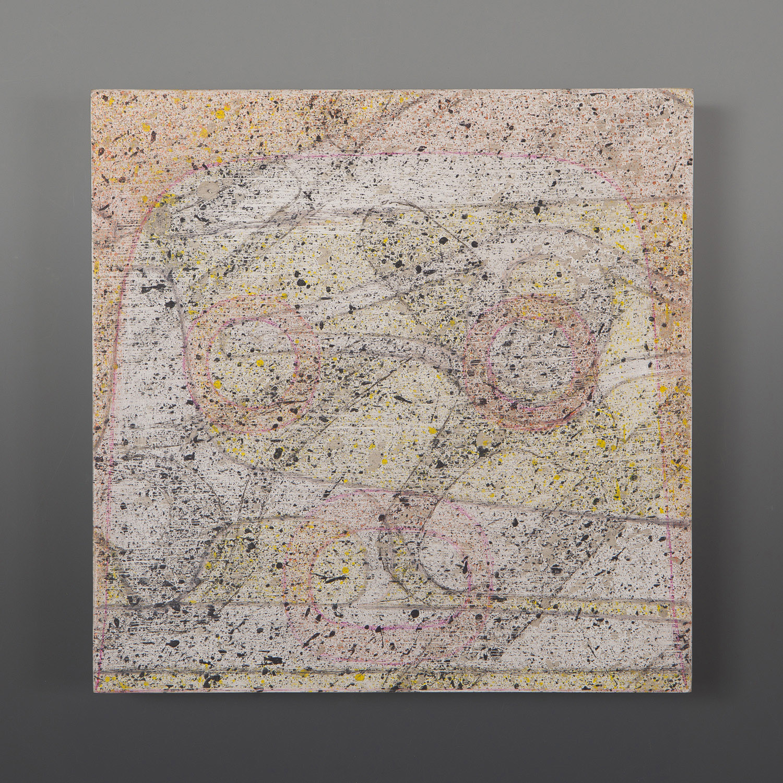 "Zeptosec Clinton Work Kwakwaka'wakw Acrylic on birch panel 8½"" x 8½"" x ½"" $600"