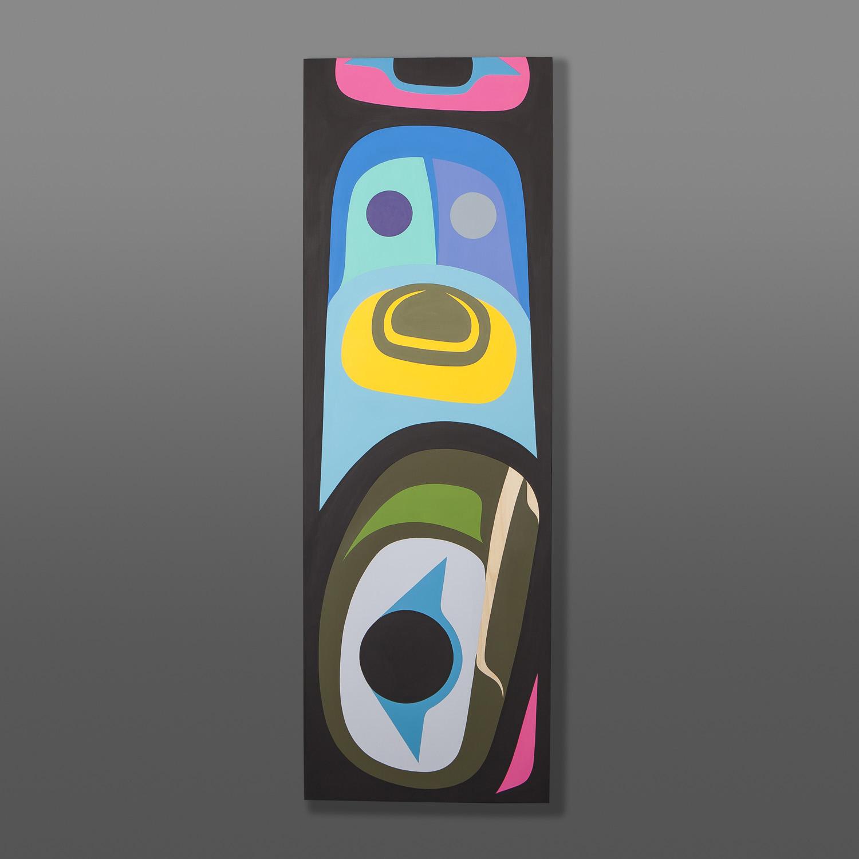 "Raven Dorsal Fin Steve Smith – Dla'kwagila  Oweekeno Acrylic on Birch 12"" x 36"" $1500"
