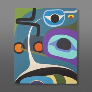 "Raven's and Killer Whale Fin Steve Smith - Dla'kwagila Oweekeno Acrylic on birch 20"" x 24"" $1600"