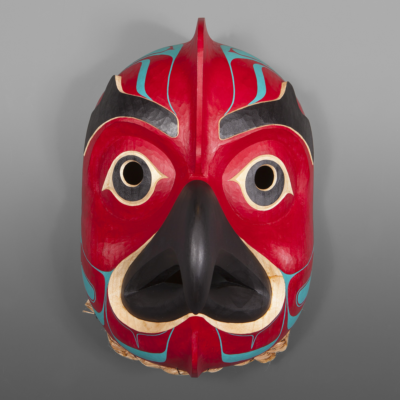 "Octopus Mask Nathan Wilson HaislaRed Cedar, Paint12"" x 8 ½"" x 7 ½"" $3600"