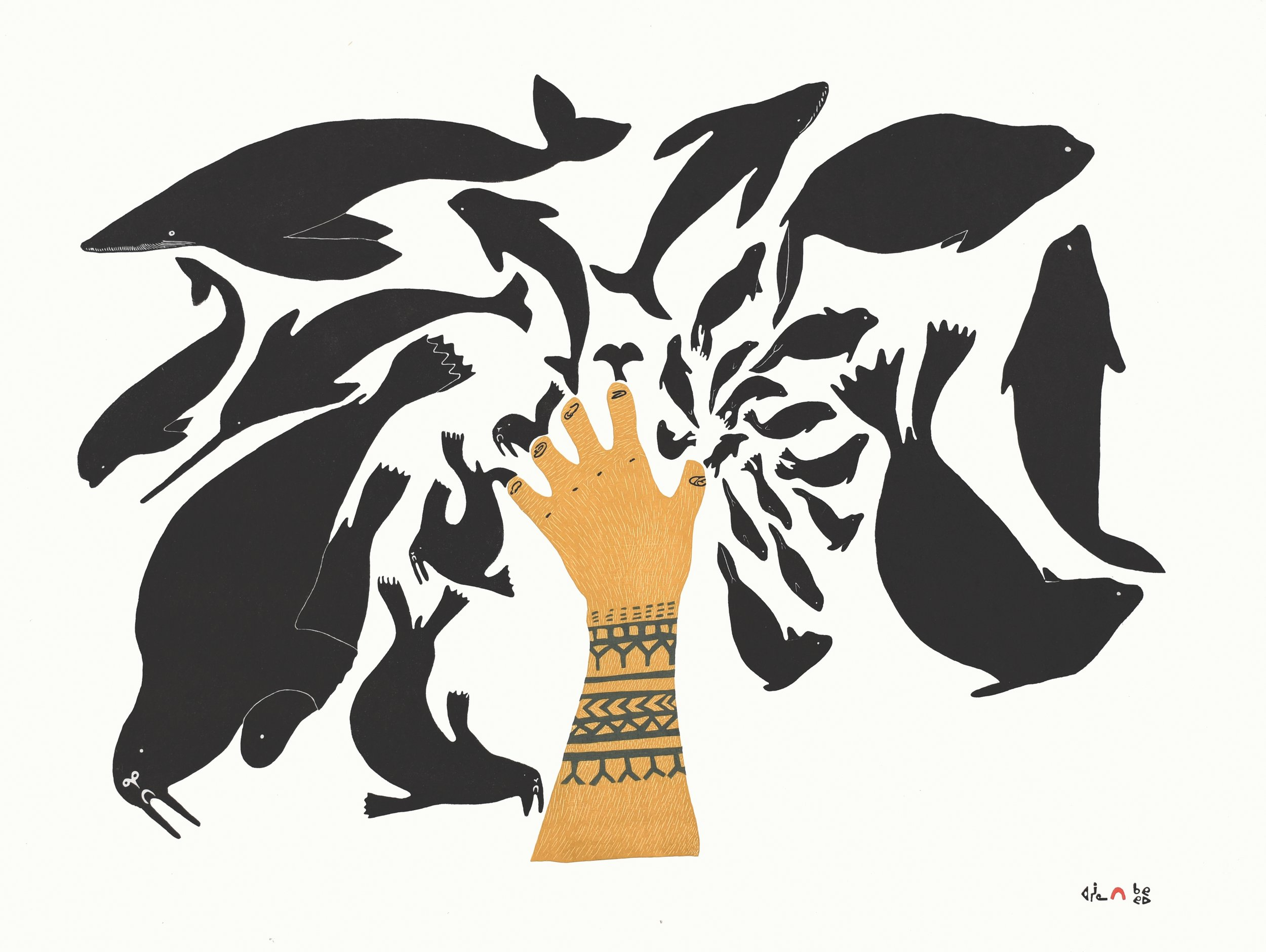 "NINGIUKULU TEEVEE 4. Sedna's Creation Stonecut Paper: Kizuki Kozo White Printer: Qavavau Manumie & Ashoona Ashoona 61.5 x 81.8 cm  24¼"""" x 32¼"" $ 1000 $750"