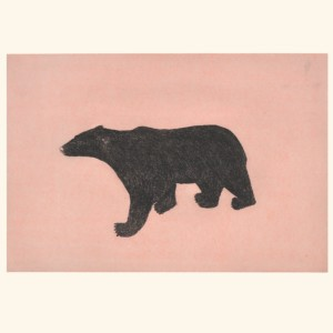 OHITO ASHOONA Prowling Bear inuit arctic Etching Chine Collé