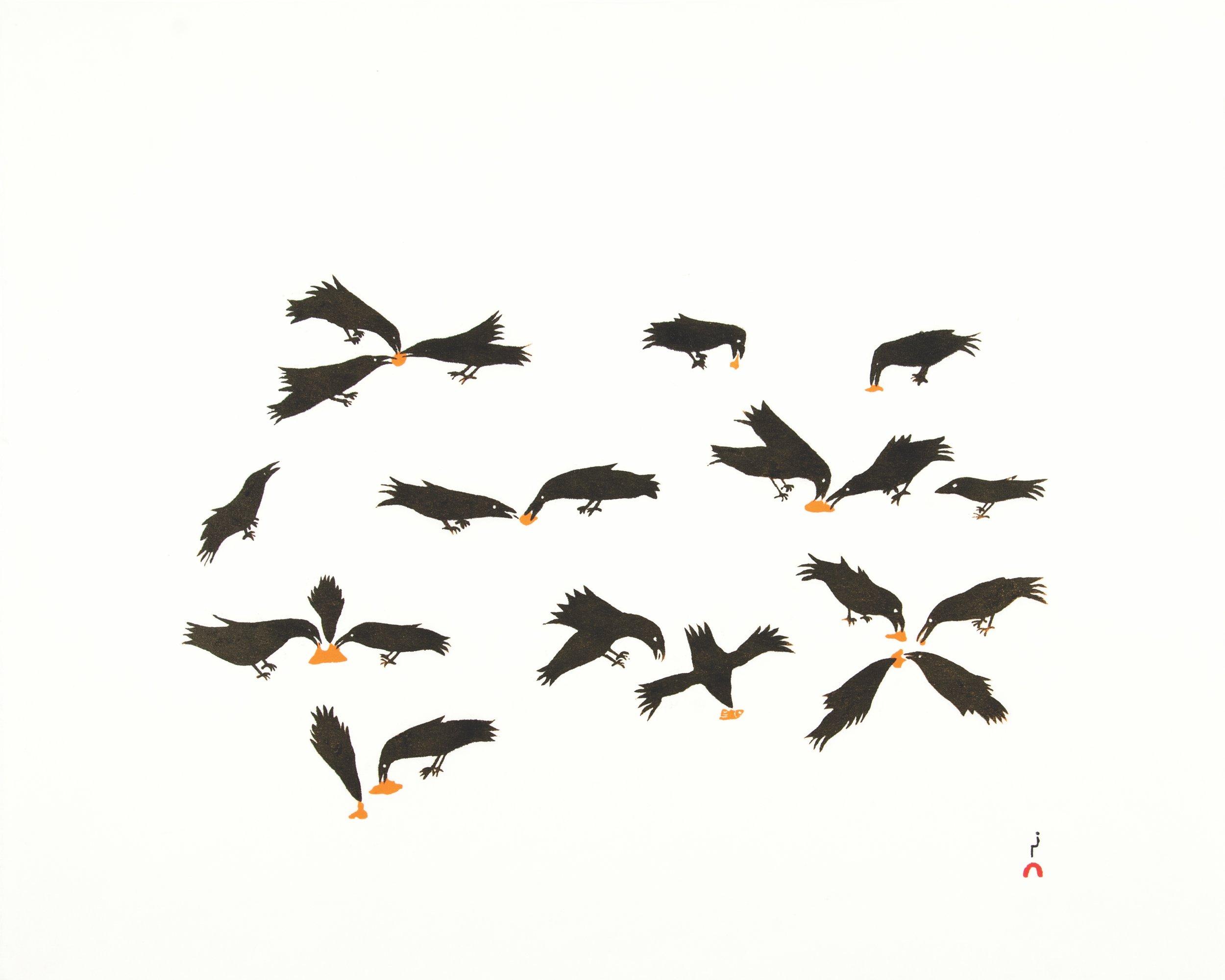 OLOOREAK ETUNGAT Feeding Ravens Stonecut