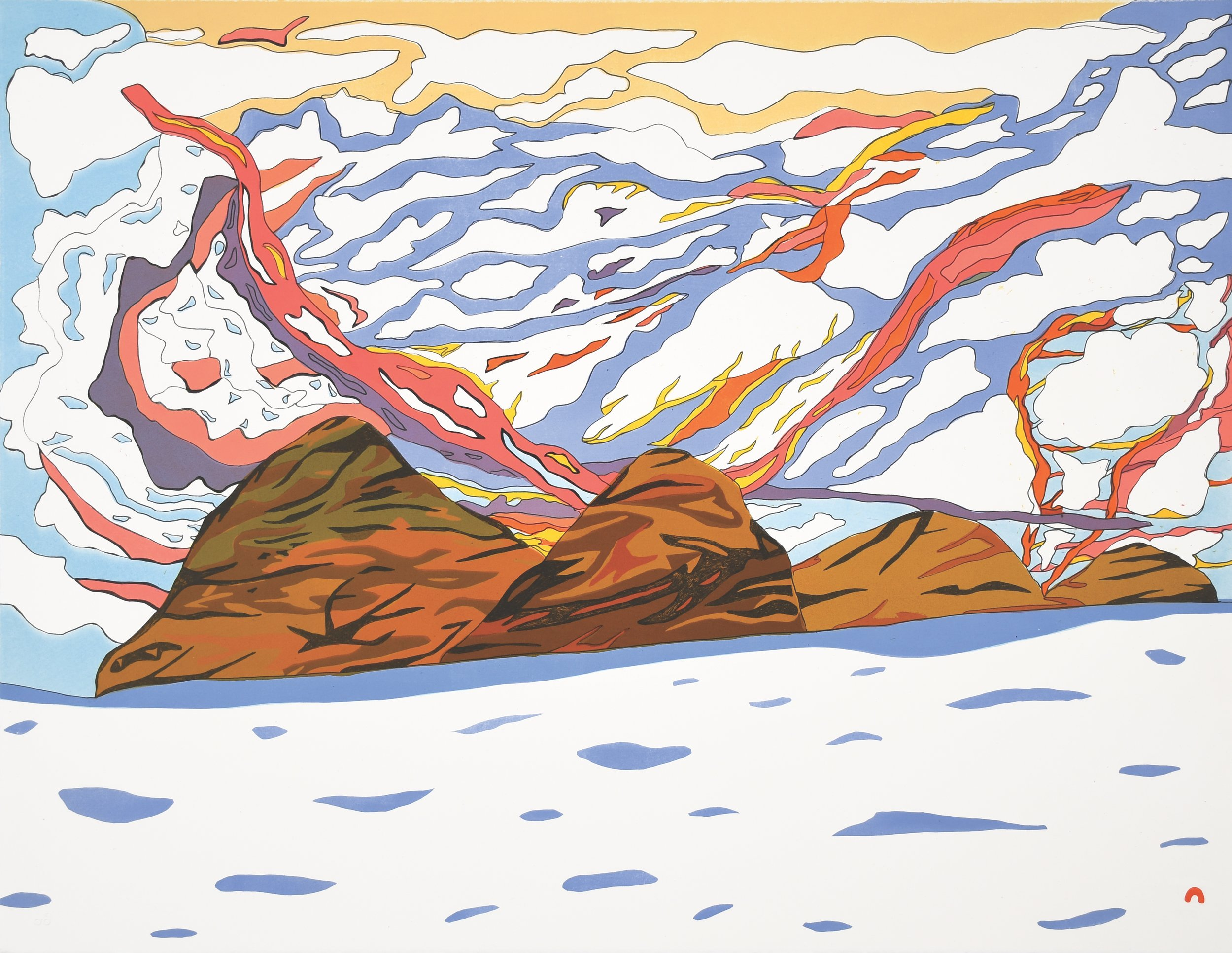 "OOLOOSIE SAILA 16. Sunlit Sky Lithograph Paper: BFK Rives White Printer: Niveaksie Quvianaqtuliaq 56.5 x 73 cm 22 ¼"" x 28 ¾""  $ 750 $600 $570"
