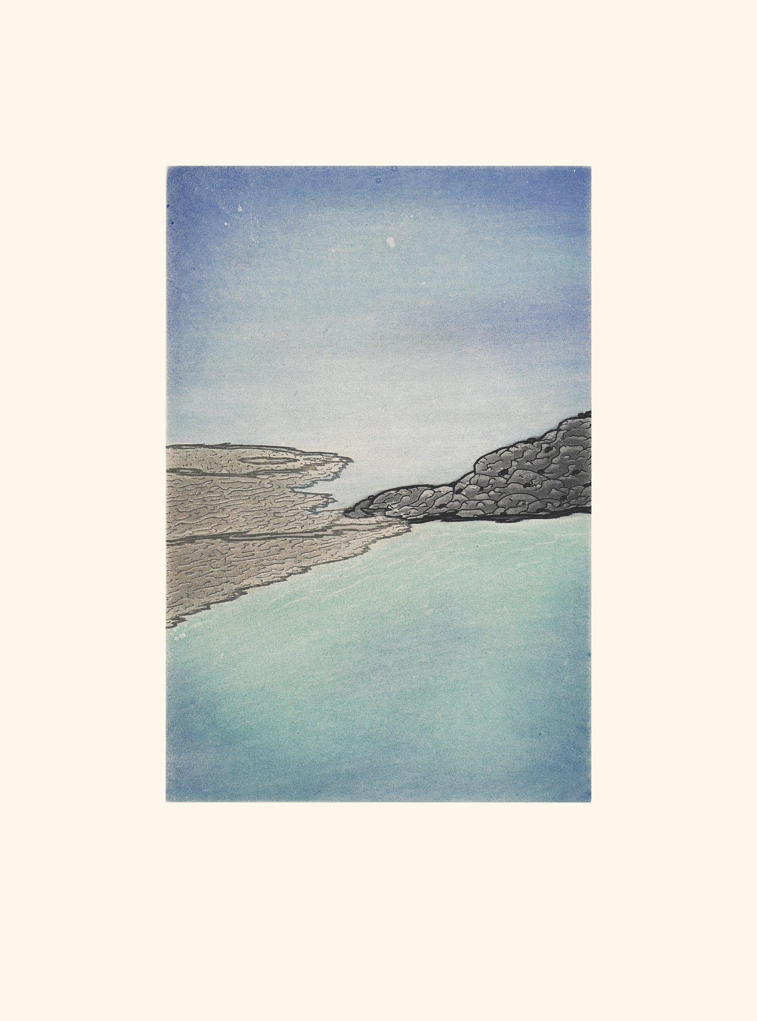 "NICOTYE SAMAYUALIE 20. Sikkuksartuq (Ice Forming) Etching & Aquatint Paper: Arches White Printer: Studio PM 48 x 35.5 cm 19"" x 14"" $ 500 $400 375"