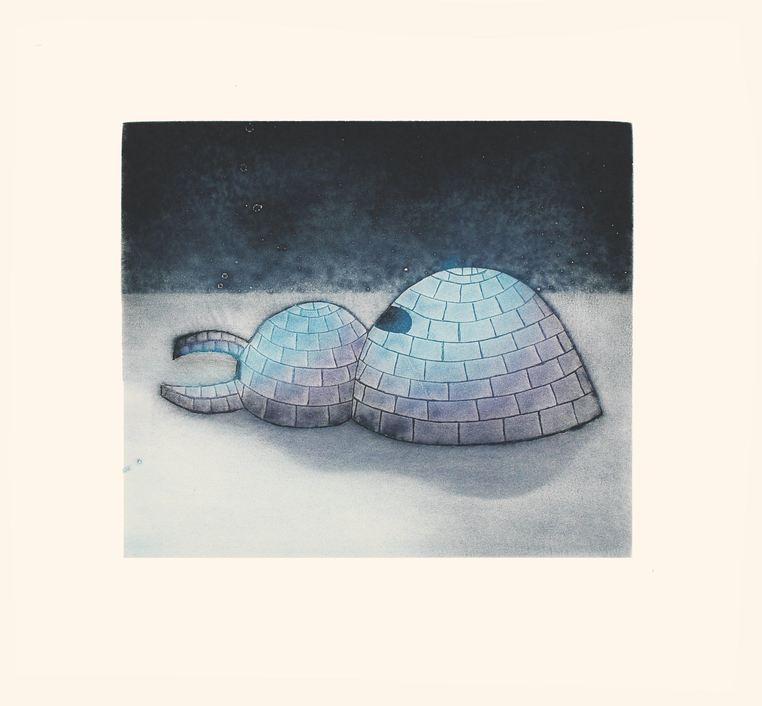 "SITA SAILA 25. Igluvigaq (A Place You Live) Etching & Aquatint Paper: Arches White Printer: Studio PM 44.7 x 48 cm 17 ½"" x 19"" $ 600 $480 450"