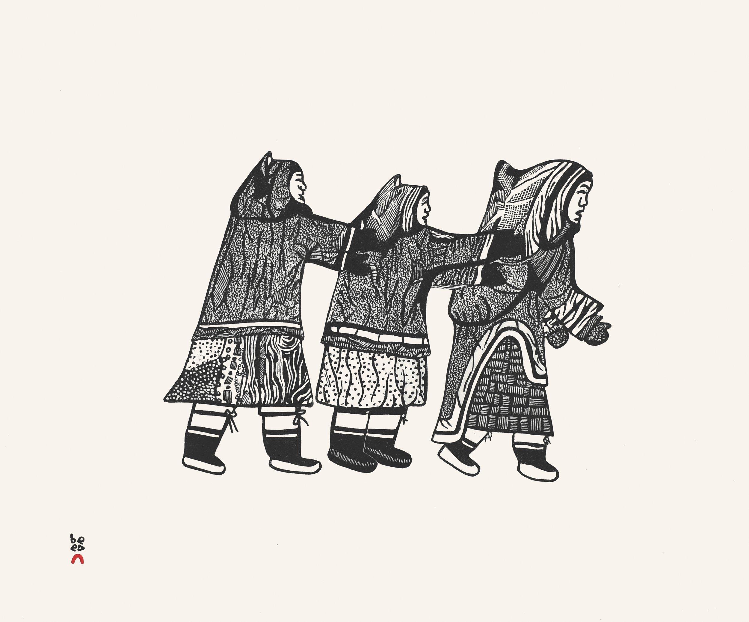 "PITALOOSIE SAILA 26. Three Women Playing Stonecut Paper: Kizuki Kozo Natural Printer: Qavavau Manumie 49.5 x 59 cm 19 ½"" x 23 ¼"" $ 600 $480 450"