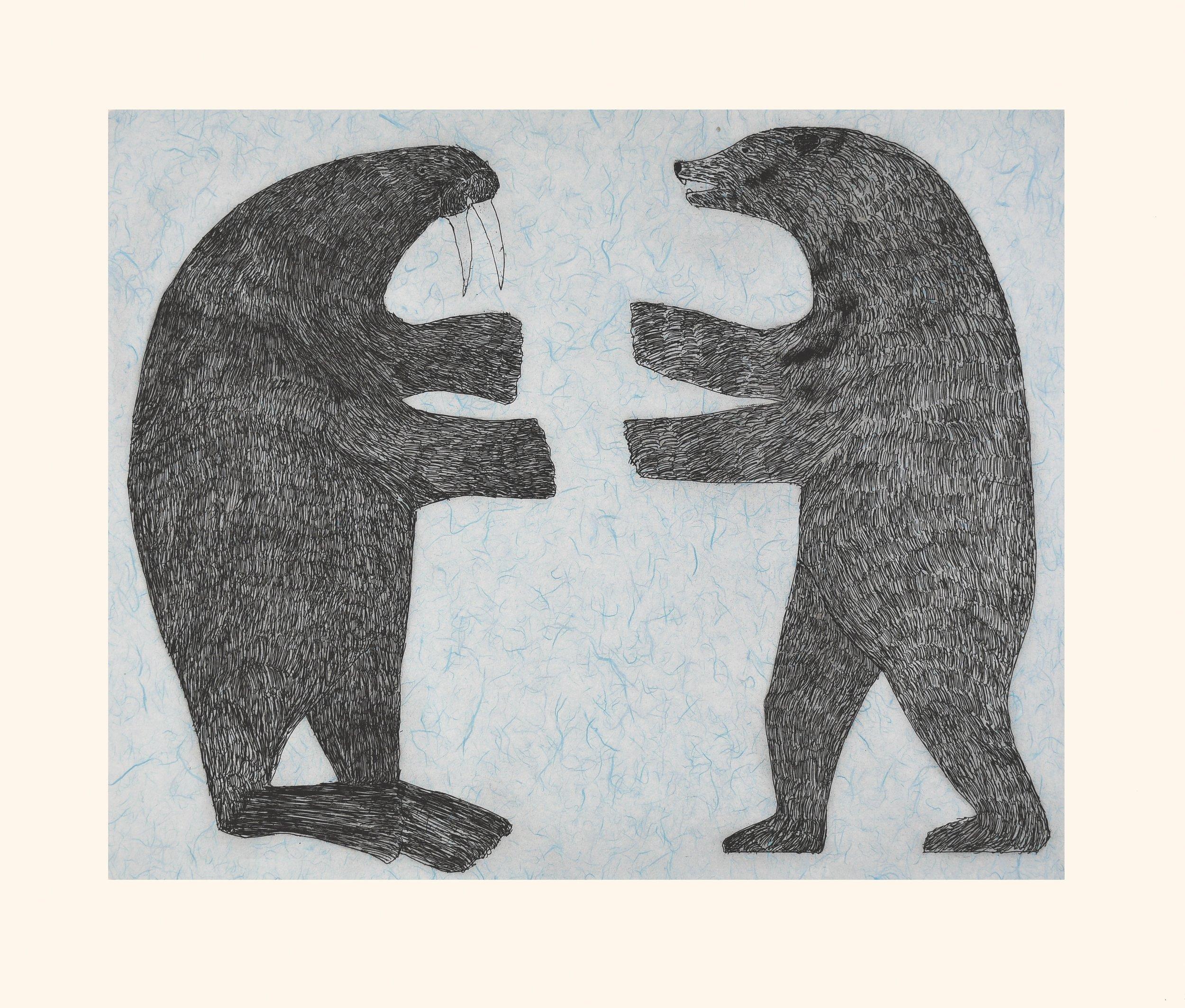 """NUNA PARR 29. Confrontation Etching & Chine Collé Paper: Arches White Printer: Studio PM 80 x 94 cm 31 ½"""" x 37"""" $ 1000 $800 $750"""