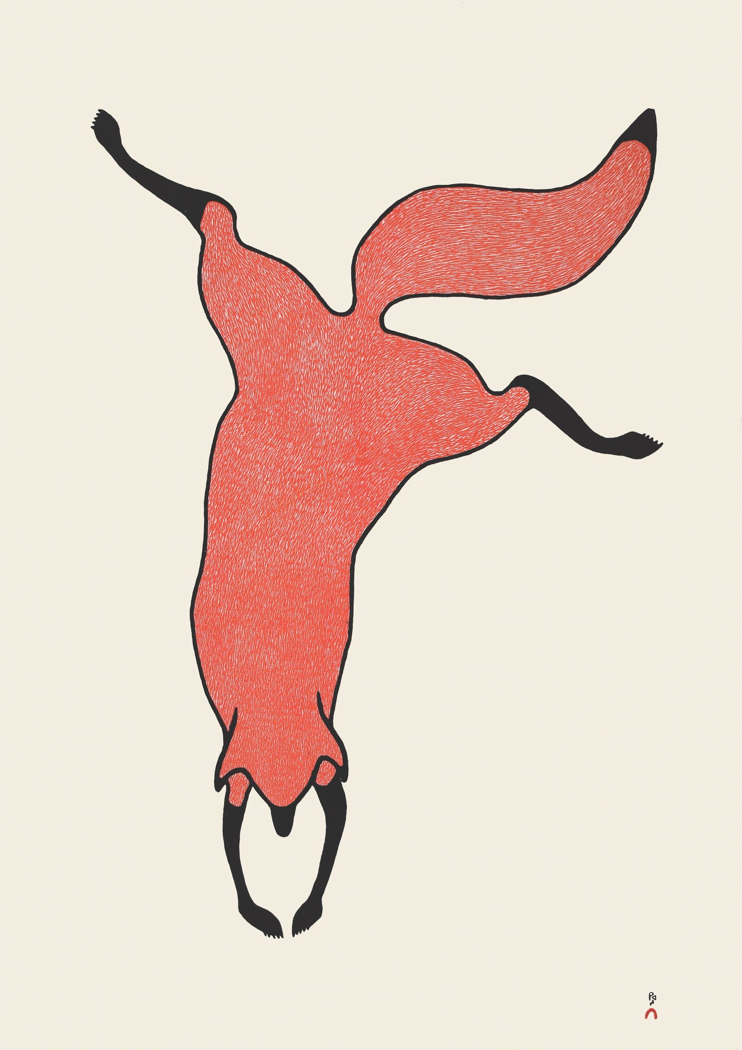 "QUVIANAQTUK PUDLAT 30. Agile Fox Stonecut Paper: Kizuki Kozo Natural Printer: Qiatsuq Niviaqsi 83.8 x 58.5 cm 33"" x 23"" $ 900 $720"