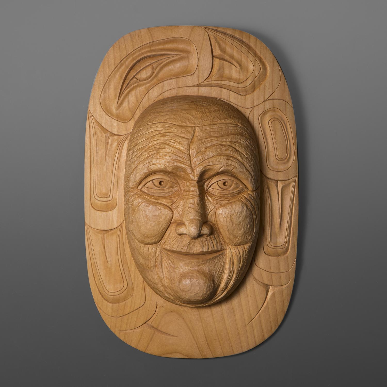 "Grandmother Moon Mask Carol Young Bagshaw Haida Alder ""17"" x 12"" x 2 1/2"" $6500"