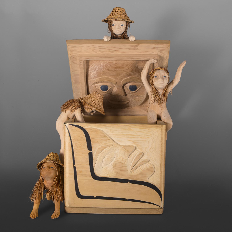 "Box of Treasures Carol Young Bagshaw Haida  Red cedar, cedar bark, paint 22"" x 18"" x 14"" (configurable) Unfinished"